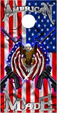 American Flag Eagle Made 2 Guns Cornhole Wrap Bag Toss Skin Decal Sticker Wraps