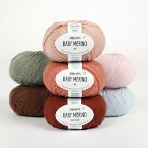DROPS 100% BABY MERINO 4ply yarn 50 colours! EXTRA FINE MERINO KNITTING WOOL 50g