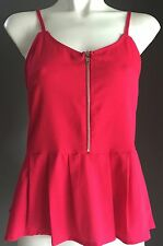 Pre-owned Excellent Condition VALLEY GIRL Hot Pink Peplum Waist Cami Top Size 10