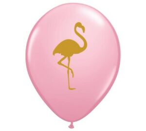 "12 Pink Flamingos Latex Balloons 11"" Tropical Luau Party High Quality"