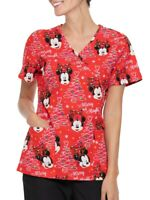 Disney Mickey Mouse Merry Bright Red Mock Wrap Scrub Top Nurse Vet Medical