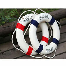 WELCOME ABOARD Nautical Wall Decor Boat Ring Life Buoy Preserver 35cm Blue