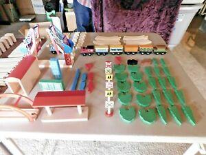 Mixed Wooden Railway Train Set Lot w/ Trains & Tracks / Bridge / etc. 125 Pieces