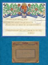 WWII 1942 GPO POST OFFICE GREETINGS TELEGRAM & GOLD ENVELOPE
