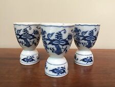 Blue Danube BLUE ONION Japan Double Egg Cup ~ SET OF 3  ~  Banner Stamp