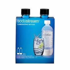 Sodastream Bottles 2X1 Liter Black Plastic Carbonating Twin Pack 3 Years Expiry