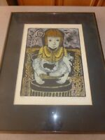 "Louise August Limited Edition Print Woodcut Child with Pet 10x14"" Framed"