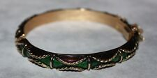 TRIFARI signed WIDE BANGLE BRACELET-RARE STYLE AND COLOR-SOLID!!!!!!!!!