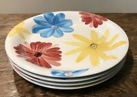 MULBERRY HOME COLLECTION #M1D1 LOT OF 4 DINNER PLATES HANDPAINTED? FLOWERS  GUC