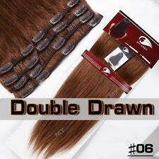 US Clip In Extensions 100% Remy Human Hair Full Head Double Drawn Thick 2 End HQ