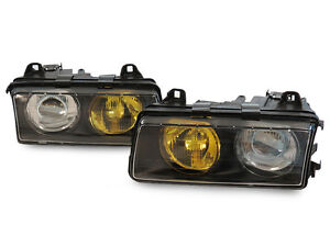 French Yellow/Clear GLASS Lens DEPO Euro Hella Projector Headlights For BMW E36