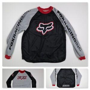 Vintage FOX Racing Reversible Jersey Motorcross Black Gray Red Mesh Size Large