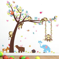 Kids Room Cartoon Monkey Tree Jungle Animals Theme Wall Sticker Art Decal Decor