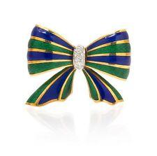Large 18k Vibrant Polychrome Enamel ,Diamond Designer Brooch, Estate $ 4899.99