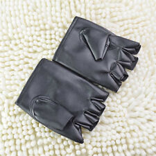 Black Mens Punk Fuax Leather Gloves Half Finger Fingerless Biker Sports Cycling
