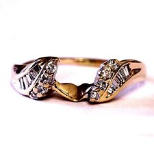 14k yellow gold .18ct diamond wrap jacket guard ring 2.4g estate antique vintage