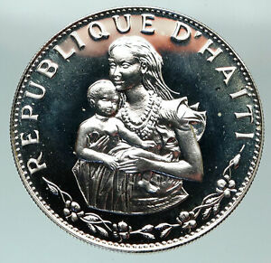 1973 HAITI Woman and Child OLD French Silver Proof 50 Gourdes Hatian Coin i84808