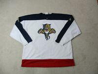 VINTAGE Florida Panthers Hockey Jersey Adult 2XL XXL White Blue NHL Hockey 90s