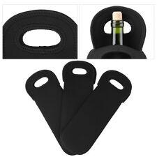 3pcs Neoprene Single Bottle Cooler Wine Tote Bag Protector Sleeve Holder Black