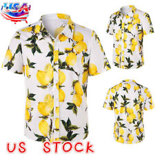Mens Hawaiian Fashion Floral Shirt Short Sleeve Casual Cotton Summer Beach USA