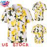 Mens Hawaiian Fashion Floral Shirt Short Sleeve Casual Cotton Summer Beach USA