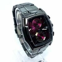 SEIKO WIRED chronograph Quartz Mens Watch analog wine-red tonneau 7T92 0KB0
