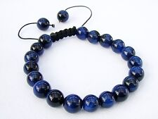 Natural Gemstone Men's Shamballa bracelet all 10mm BLUE Tiger Eye beads
