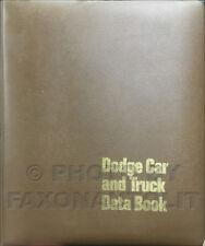 1972 Dodge Data Book Album Coronet Challenger Charger Dart Demon Pickup Truck
