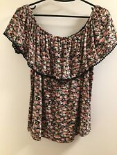 Excellent condition Womens top Dotti size L Floral colour off shoulder design