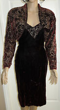 KAREN OKADA Climax DAVID HOWARD Burgundy Evening Dress & Jacket Size 3/4 Sexy!