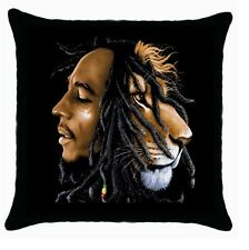 BOB MARLEY LION BLACK ZIPPERED CUSHION COVER PILLOW CASE 114676750