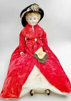 """Antique 1880 Large 25"""" China Head Doll Original Body Blonde Curly Hair Blue Eyes"""