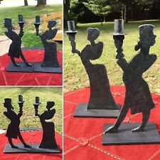 Antique Art Deco Victorian Silhouette Wrought Iron Cast Metal Big Candle Holders
