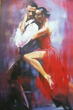 Flamenco Salsa Ballerine 40x28 pittura ad olio, non una stampa o poster, telaio DISP.