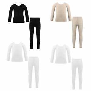 Boys Girls Fleece Lined Thermal Underwear Gymnastics Ballet Dance Undergarments