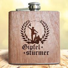 """Holz Flachmann """"Gipfelstürmer""""   Geschenk Idee Männer Wanderung Bergsteiger"""