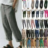 Womens Baggy Trousers Cotton Linen Harem Hippy Loose Casual Elastic Waist Pants