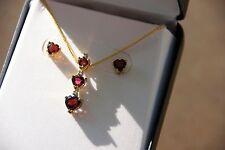 Garnet & Diamond Heart Pendant & Earrings