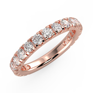 14k Rose Gold on 925 Sterling Silver Brilliant Round-cut Engagement Band Ring