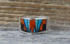 Navajo Fire Opal Onyx Inlay Women's Angular Band Ring Size 8.5