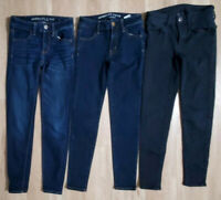 American Eagle Womens Jeans Size 00 Short Jegging Lot of 3 Stretch Black Blue