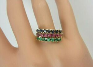 14k Yellow Gold Emerald Ruby Sapphire Stack Ring Set of 3 2.00 carats