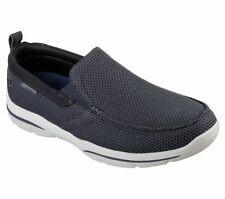 Skechers Navy Shoes Men's Memory Foam Woven Slip On Comfort Loafer Casual 65382