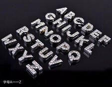 130PCS 8mm A-Z Full Rhinestone Slide Letters Charm DIY Pet Name Collar Bracelet