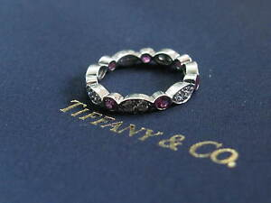 Tiffany & Co Swing Jazz Pink Sapphire & Diamond Band Size 5 .71CT