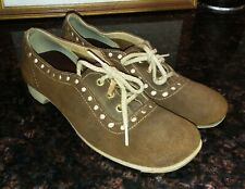 Vintage 60s 70s Saddle Suede Lace Up Granny Shoes Mod-Twiggy LaughIn Oxfords vlv