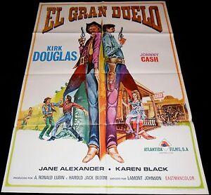 A Gunfight ORIGINAL SPAIN POSTER Johnny Cash Kirk Douglas '73 Mataix artwork