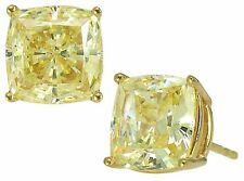 5.03 CARAT 14K SOLID YELLOW GOLD RADIANT CUT CANARY SAPPHIRE PUSH BACK EARRINGS