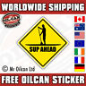 SUP AHEAD WARNING (stand up paddle board) sticker paddle board design 100mm