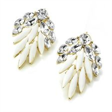 White Stud Earrings Gold Colour White Bead & Crystal Diamante Studs